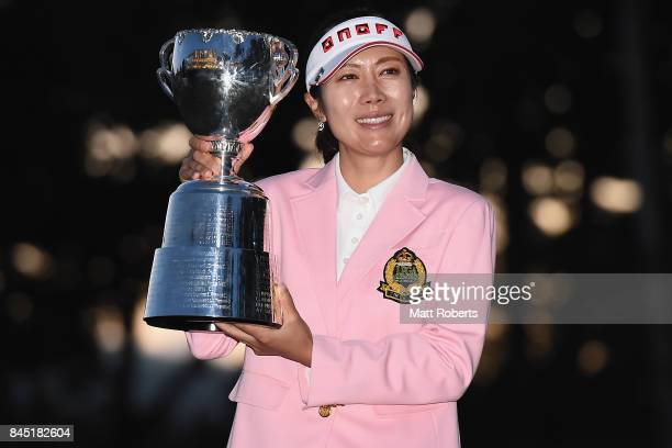 JiHee Lee of South Korea holds the winners trophy during the final round of the 50th LPGA Championship Konica Minolta Cup 2017 at the Appi Kogen Golf...