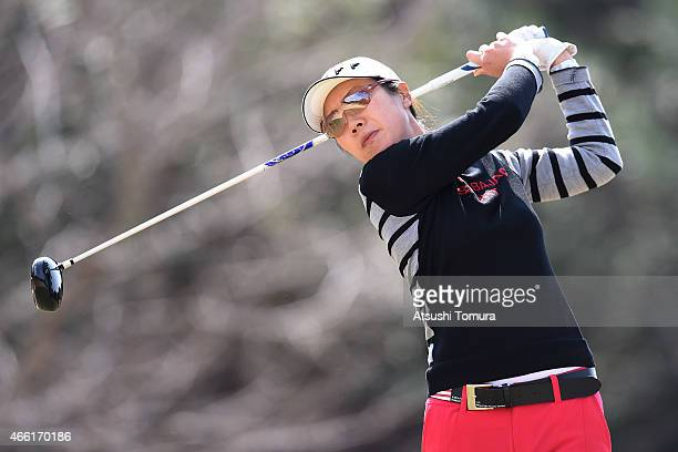 JiHee Lee of South Korea plays a tee shot on the 3rd hole during the second round of the Yokohama Tyre PRGR Ladies Cup at the Tosa Country Club on...