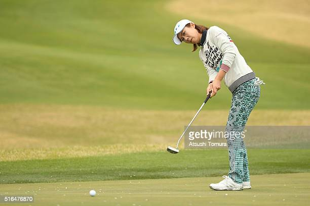 JiHee Lee of South Korea putts on the 4th green during the second round of the TPoint Ladies Golf Tournament at the Wakagi Golf Club on March 19 2016...