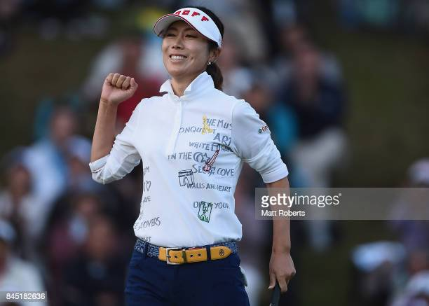 JiHee Lee of South Korea reacts after her putt on the 18th green during the final round of the 50th LPGA Championship Konica Minolta Cup 2017 at the...