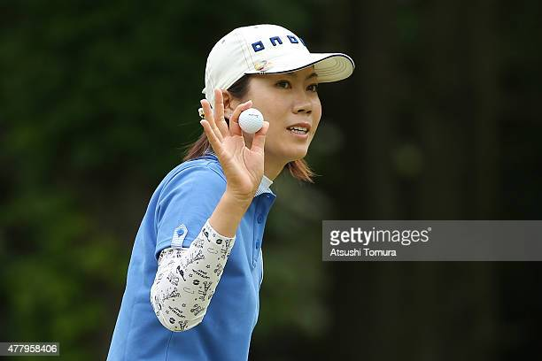 JiHee Lee of South Korea reacts after making her birdie putt on the 1st hole during the third round of the Nichirei Ladies at the Sodegaura Country...