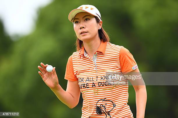 JiHee Lee of South Korea reacts during the third round of the Earth Mondamin Cup at the Camellia Hills Country Club on June 27 2015 in Sodegaura Japan