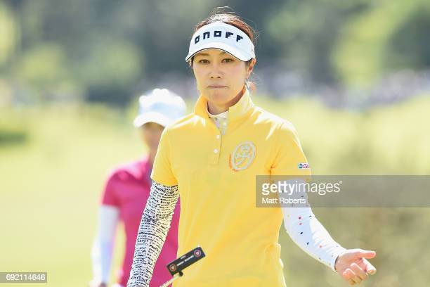 JiHee Lee of South Korea reacts on the 18th green during the final round of the Yonex Ladies Golf Tournament 2016 at the Yonex Country Club on June 4...