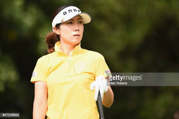 JiHee Lee of South Korea watches her tee shot on the 2nd hole during the first round of the Munsingwear Ladies Tokai Classic 2017 at the Shin Minami...