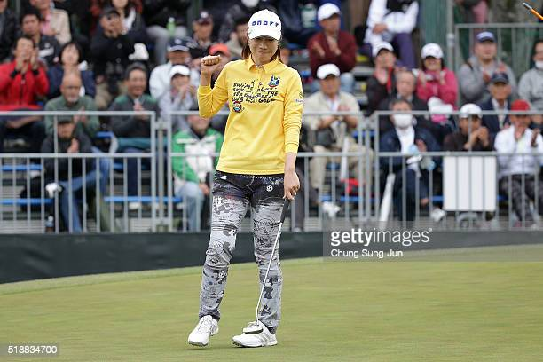 JiHee Lee South Korea celebrates after a winning putt on the 18th green during the final round of the YAMAHA Ladies Open Katsuragi at the Katsuragi...