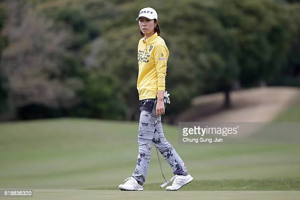 JiHee Lee South Korea plays on the 6th green during the final round of the YAMAHA Ladies Open Katsuragi at the Katsuragi Golf Club Yamana Course on...