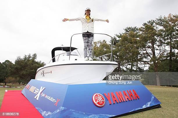 JiHee Lee South Korea poses with the winner prize during a ceremony following the YAMAHA Ladies Open Katsuragi at the Katsuragi Golf Club Yamana...