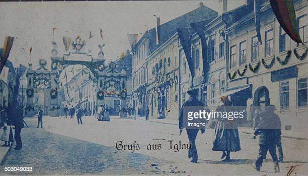 Jihlava Moravia / Czech Republic Main street with triumphal arch on the occasion of the 1100year celebration 1899 Photograph
