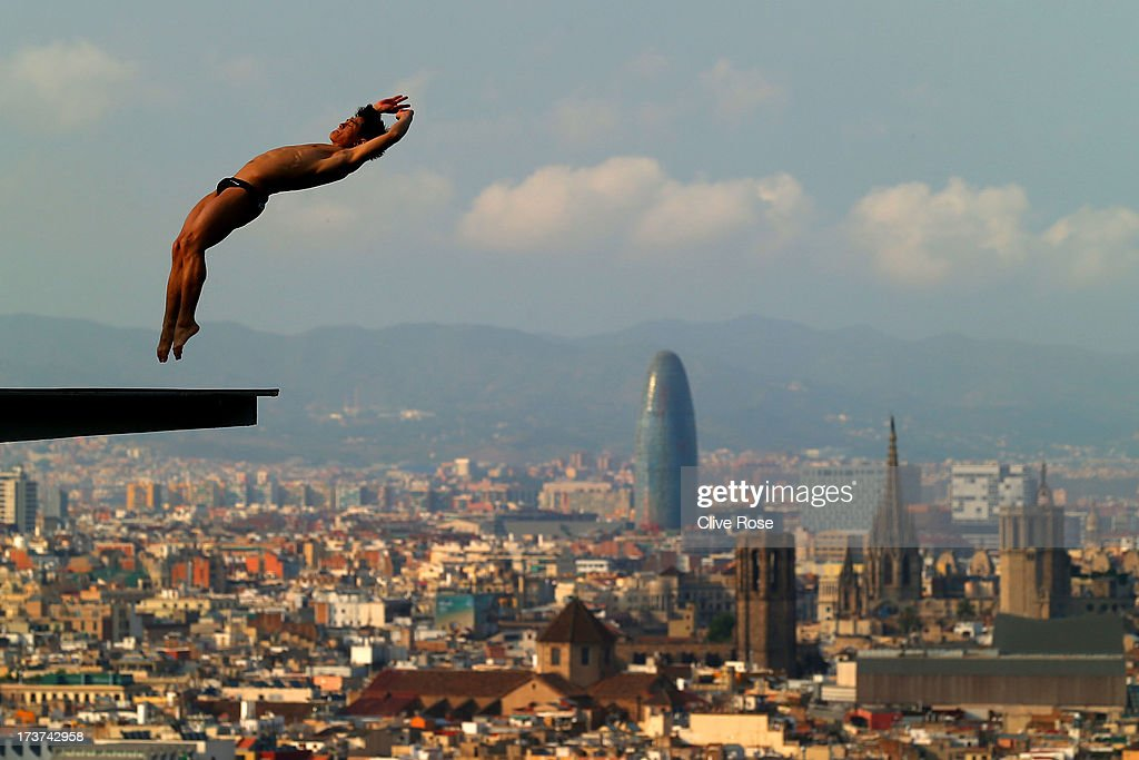 Jiho Park of Korea in action during a diving training session ahead of the FINA World Championships on July 17, 2013 in Barcelona, Spain.