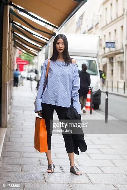 JiHye Park at the Hermes presentation on July 3 2016 in Paris France