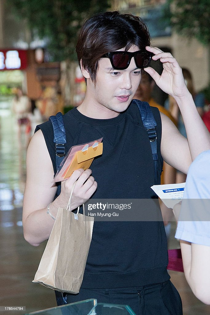 Jihyuk of South Korean boy band Choshinsung is seen on departure at Gimpo International Airport on August 30, 2013 in Seoul, South Korea.