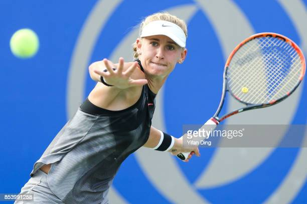 Jil Teichmann of Switzerland plays a forehand during the second round Ladies Singles match against Dominika Cibulkova of Slovakia on Day 3 of 2017...