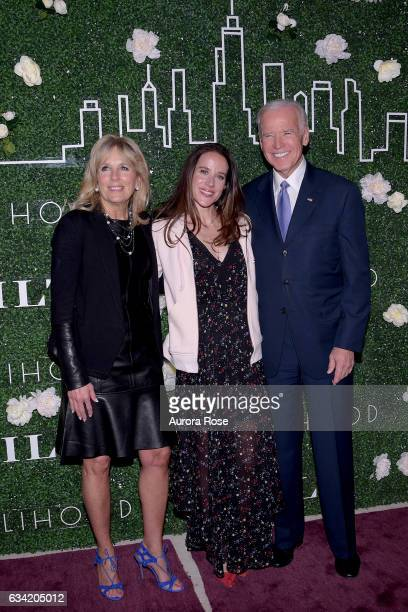Jill Biden Ashley Biden and Joe Biden attend Gilt x Livelihood Launch Event at 6 St John's Lane on February 7 2017 in New York City