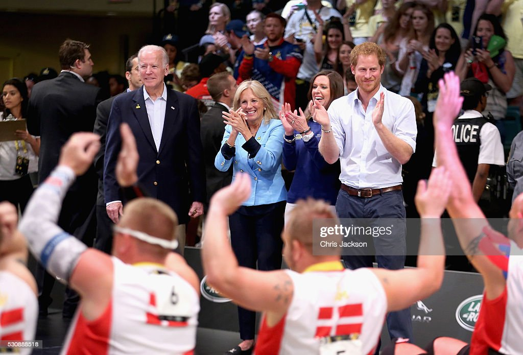 Jill Biden, Joe Biden and Prince Harry clap the USA and Denmark Wheelchair Rugby teams in the wheelchair rugby finals at the Invictus Games Orlando 2016 at ESPN Wide World of Sports on May 11, 2016 in Orlando, Florida. Prince Harry, patron of the Invictus Games Foundation is in Orlando for the Invictus Games 2016. The Invictus Games is the only International sporting event for wounded, injured and sick servicemen and women. Started in 2014 by Prince Harry the Invictus Games uses the power of Sport to inspire recovery and support rehabilitation.