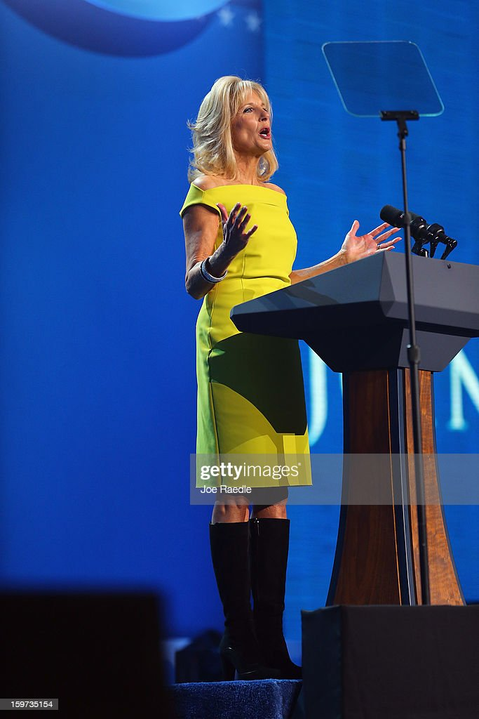 Jill Biden speaks during the children's concert at the Washington Convention Center to celebrate military families on January 19, 2013 in Washington, DC. The U.S. capital is preparing for the second inauguration of U.S. President Barack Obama, which will take place on January 21.