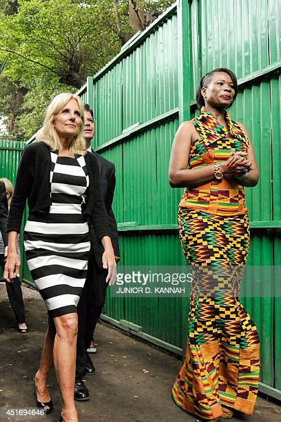 Jill Biden wife of the US vicepresident visits the premises of Women Technology an association directed by Therese Inza which makes robots regulating...