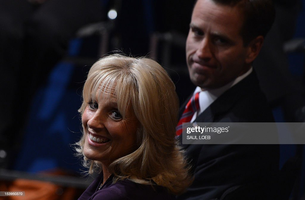 Jill Biden, wife of US Vice President Joe Biden, awaits the start of the vice presidential debate at the Norton Center at Centre College in Danville, Kentucky, October 10, 2012, moderated by Martha Raddatz of ABC News. AFP PHOTO / Saul LOEB