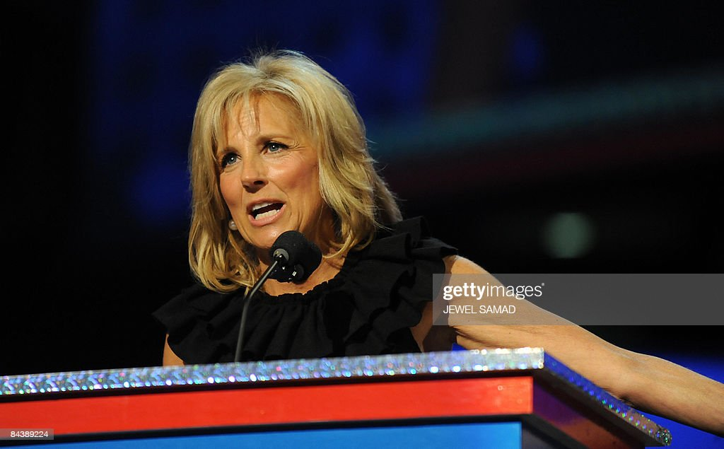 <a gi-track='captionPersonalityLinkClicked' href=/galleries/search?phrase=Jill+Biden&family=editorial&specificpeople=997040 ng-click='$event.stopPropagation()'>Jill Biden</a>, wife of US vice president-elect Joe Biden, delivers a speech at the ''Kids inaugural: We Are The Future' concert honouring military families, one of the events of Obama's inauguration celebrations, in Washington on January 19, 2009. AFP PHOTO/Jewel SAMAD