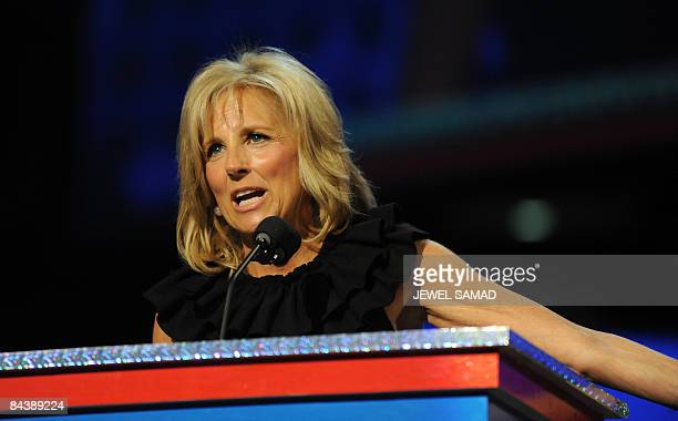 Jill Biden wife of US vice presidentelect Joe Biden delivers a speech at the ''Kids inaugural We Are The Future' concert honouring military families...