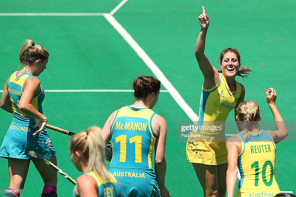 Jill Dwyer of the Hockeyroos celebrates a goal in the gold medal match between the Australian Hockeyroos and the Australian Jillaroos during day four of the 2012 International Super Series at Perth Hockey Stadium on November 25, 2012 in Perth, Australia.