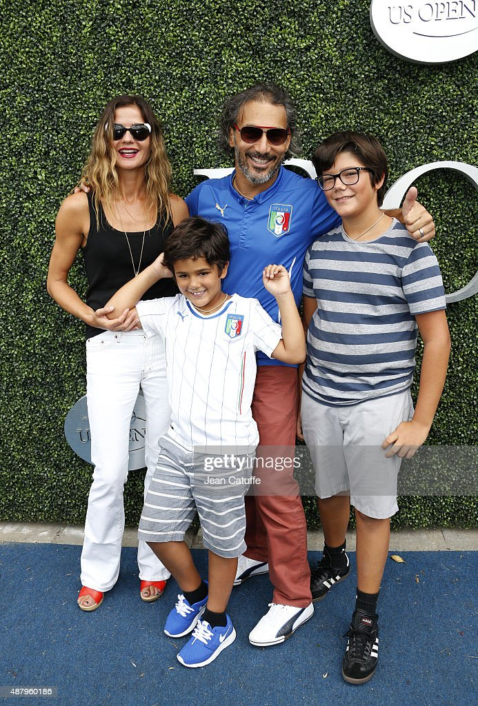 Jill Hennessy her husband Paolo Mastropietro and their sons Gianni Mastropietro and Marco Mastropietro attend the women's final on day thirteen of...