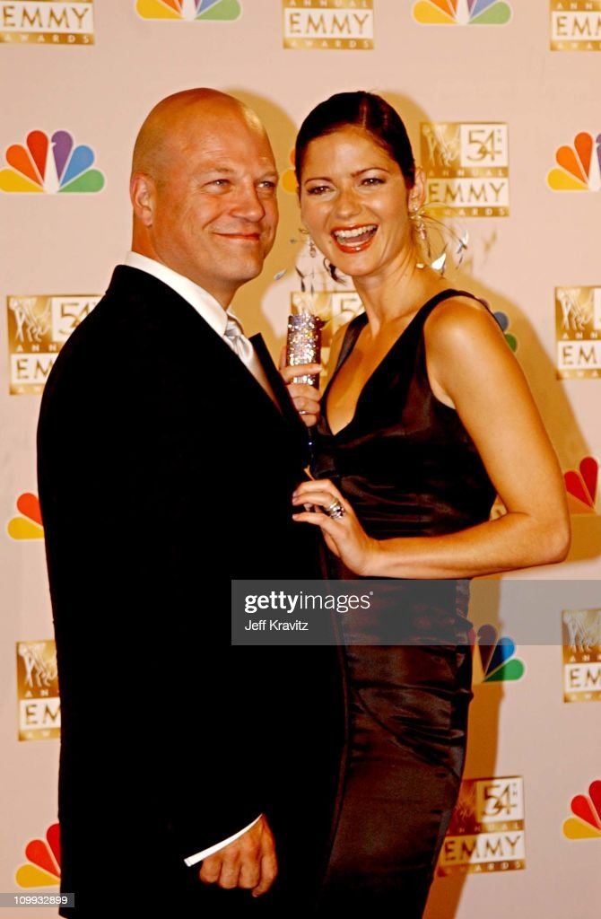 Jill Hennessy Michael Chiklis during The 54th Annual Primetime Emmy Awards Press Room at The Shrine Auditorium in Los Angeles California United States