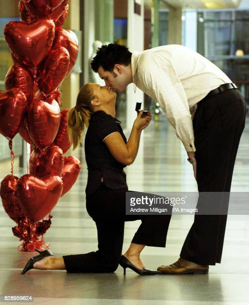 Jill Horan takes advantage of the leap year tradition by proposing to her unsuspecting boyfriend David Bell 24 at East Kilbride's shopping centre It...