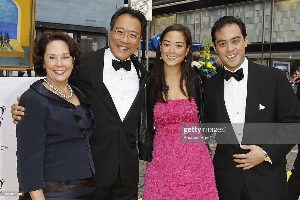 Jill Hornor Ma, cellist Yo-Yo Ma with daughter Emily Ma and son Nicholas arrive for the Polar Music Prize at Konserthuset on August 28, 2012 in Stockholm, Sweden.