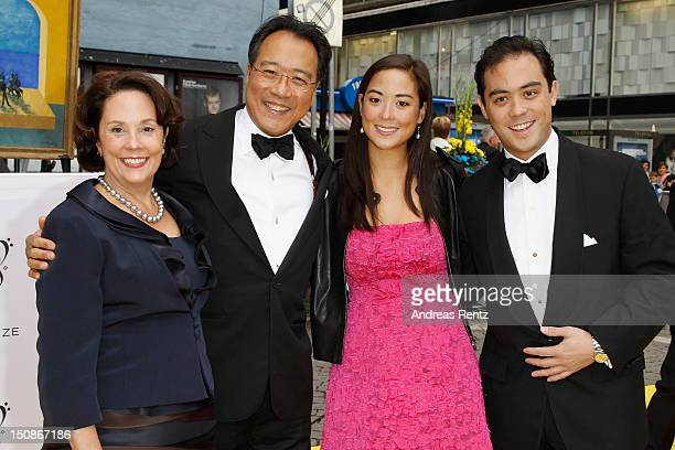 Jill Hornor Ma cellist YoYo Ma with daughter Emily Ma and son Nicholas arrive for the Polar Music Prize at Konserthuset on August 28 2012 in...