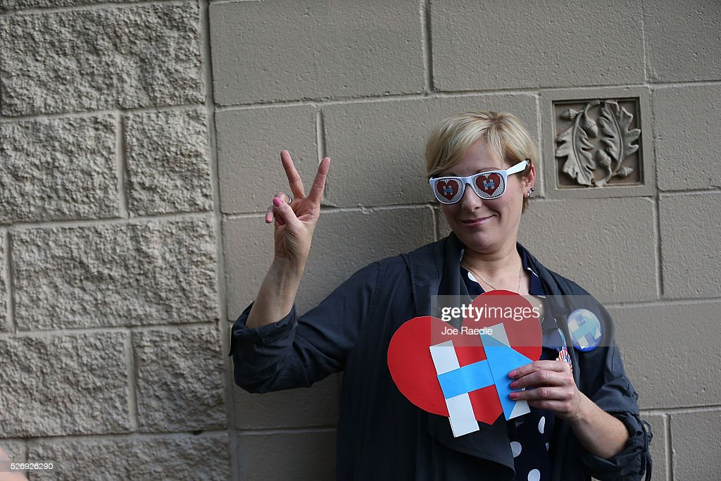 Jill Huennekens waits for the arrival of Democratic presidential candidate Hillary Clinton at her campaign stop at the Douglass Park Gynasium on May 1, 2016 in Indianapolis, Indiana. Presidential candidates continue to campaign across the state leading up to Indiana's primary day on May 3.