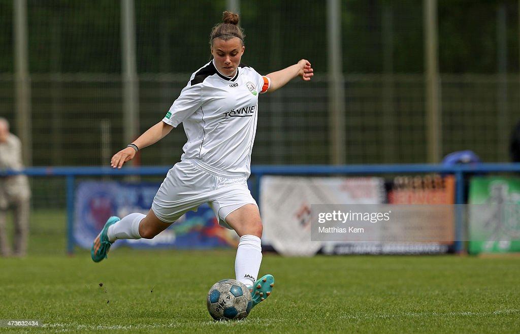Jill Justine Eis of Guetersloh runs with the ball during the U17 Girl's Bundesliga semi final first leg match between Turbine Potsdam and FSV...