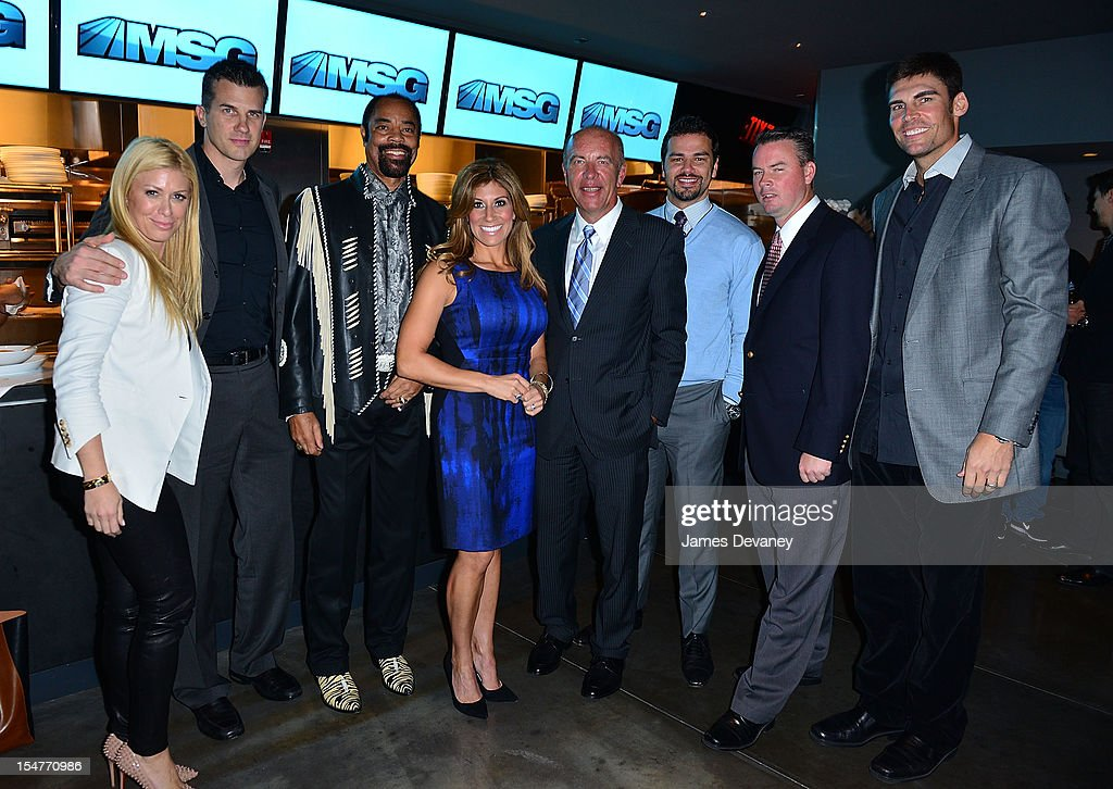 Jill Martin, Alan Hahn, Clyde Frazier, Tina Cervasio, Al Trautwig, Spero Dedes, Brendan Brown and <a gi-track='captionPersonalityLinkClicked' href=/galleries/search?phrase=Wally+Szczerbiak&family=editorial&specificpeople=201838 ng-click='$event.stopPropagation()'>Wally Szczerbiak</a> attend MSG Network's 'Knicks Season Roundtable' at Clyde Frazier's Wine and Dine on October 25, 2012 in New York City.