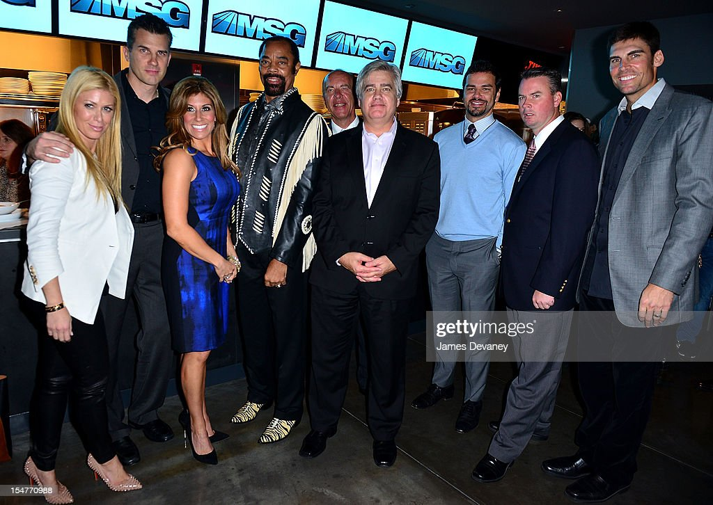 Jill Martin, Alan Hahn, Tina Cervasio, Clyde Frazier, Al Trautwig, Daniel Ronayne, Spero Dedes, Brendan Brown and <a gi-track='captionPersonalityLinkClicked' href=/galleries/search?phrase=Wally+Szczerbiak&family=editorial&specificpeople=201838 ng-click='$event.stopPropagation()'>Wally Szczerbiak</a> attend MSG Network's 'Knicks Season Roundtable' at Clyde Frazier's Wine and Dine on October 25, 2012 in New York City.