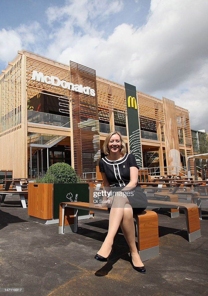 Jill McDonald, the Chief Executive Officer of McDonald's UK, poses for a photograph in front of the world's largest McDonald's restaurant which is their flagship outlet in the Olympic Park on June 25, 2012 in London, England. The restaurant, which is one of four McDonald's to be situated within the Olympic Park, will have a staff of 500. After the Olympic and Paralympic Games conclude the restaurant will be dismantled and all fixtures and fittings will be either reused or recycled.