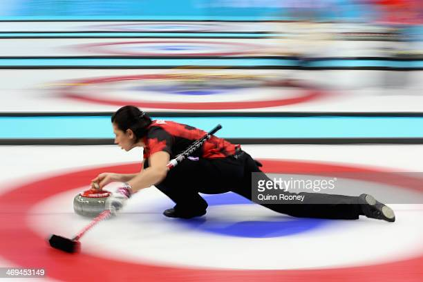 Jill Officer of Canada delivers the stone during Curling Women's Round Robin match between Canada and Japan on day eight of the Sochi 2014 Winter...