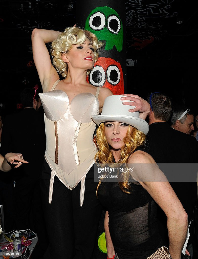 Jill Pollack Rutsky as 'Madonna Present' and Meg Lanzarone as 'Madonna Past' attends Totally Tubular Time Machine at Culture Club on January 19, 2013 in New York City.