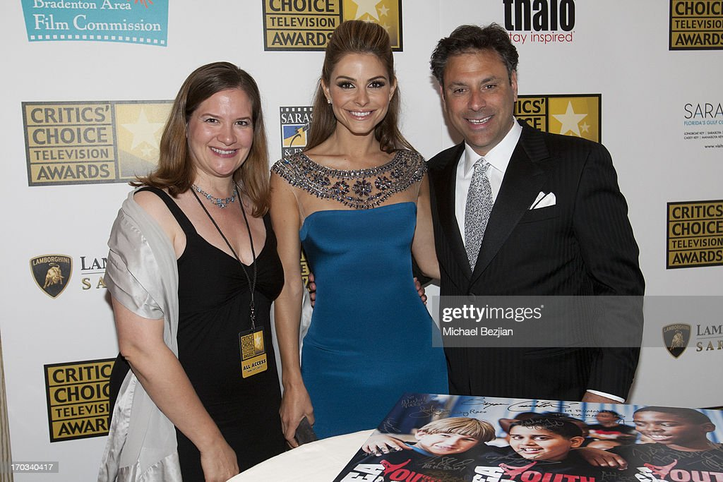 Jill Roberts of the Youths' Dance Porgram, Maria Menounos and President of Thalo Steven Roth attend Critics' Choice Television Awards VIP Lounge on June 10, 2013 in Los Angeles, California.