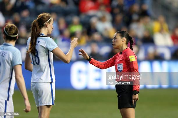 Jill Scott appeals to referee Melissa Borjas to show a card The England Women's National Team played the France Women's National Team as part of the...