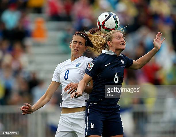 Jill Scott of England and Amandine Henry of France head the ball in the second half during the FIFA Women's World Cup 2015 Group F match at Moncton...