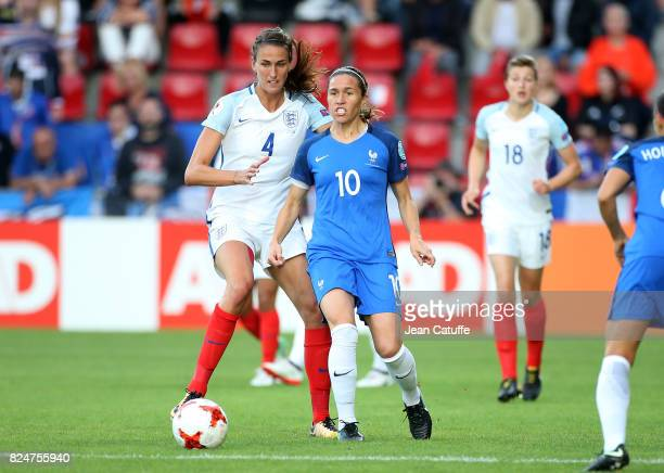 Jill Scott of England and Camille Abily of France during the UEFA Women's Euro 2017 quarter final match between England and France at Stadion De...