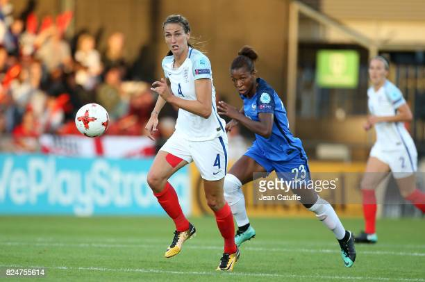 Jill Scott of England and Grace Geyoro of France during the UEFA Women's Euro 2017 quarter final match between England and France at Stadion De...