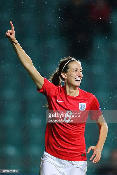 Jill Scott of England celebrates after scoring a goal during UEFA Women's Euro 2017 Qualifier match between Estonia and England at A Le Coq Arena on...