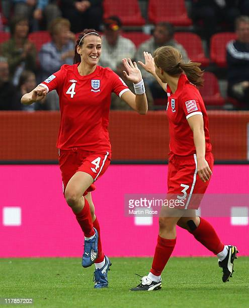 Jill Scott of England celebrates after she scores her team's equalizing goal during the FIFA Women's World Cup 2011 Group B match between New Zealand...