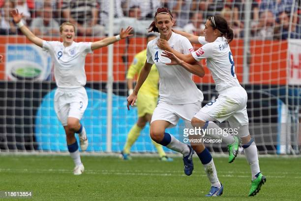 Jill Scott of England celebrates the first goal with Fara Williams of England during the FIFA Women's World Cup 2011 Quarter Final match between...