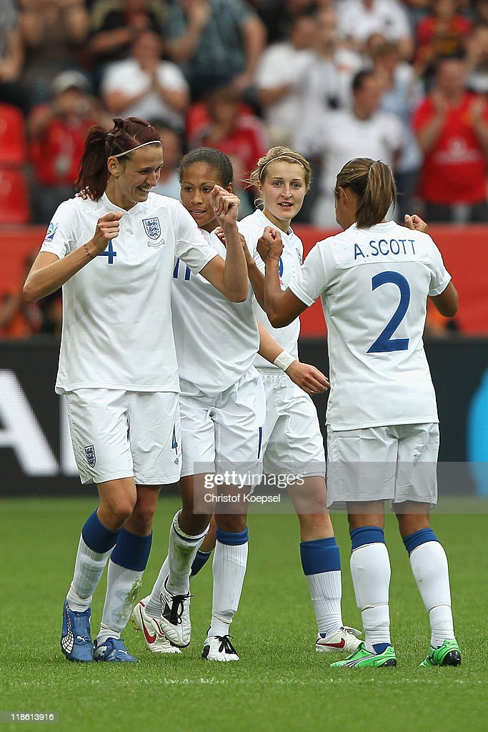 Jill Scott of England (L) celebrates the first goal with Rachel Yankey of England (2nd L), Faye White (2nd R) and Alex Scott of England during the FIFA Women's World Cup 2011 Quarter Final match between England and France at the FIFA Women's World Cup Stadium Leverkusen on July 9, 2011 in Leverkusen, Germany.
