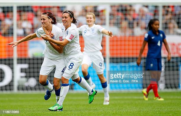 Jill Scott of England celebrates with Fara Williams after Scott's goal against France during the FIFA Women's World Cup 2011 Quarter Final match...