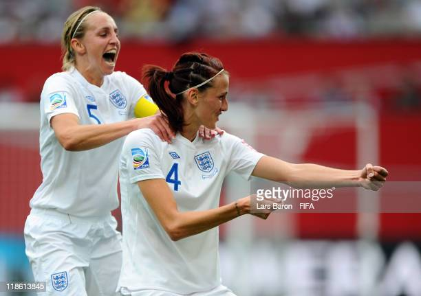 Jill Scott of England celebrates with team mate Faye White after scoring his teams first goal during the FIFA Women's World Cup 2011 Quarter Final...