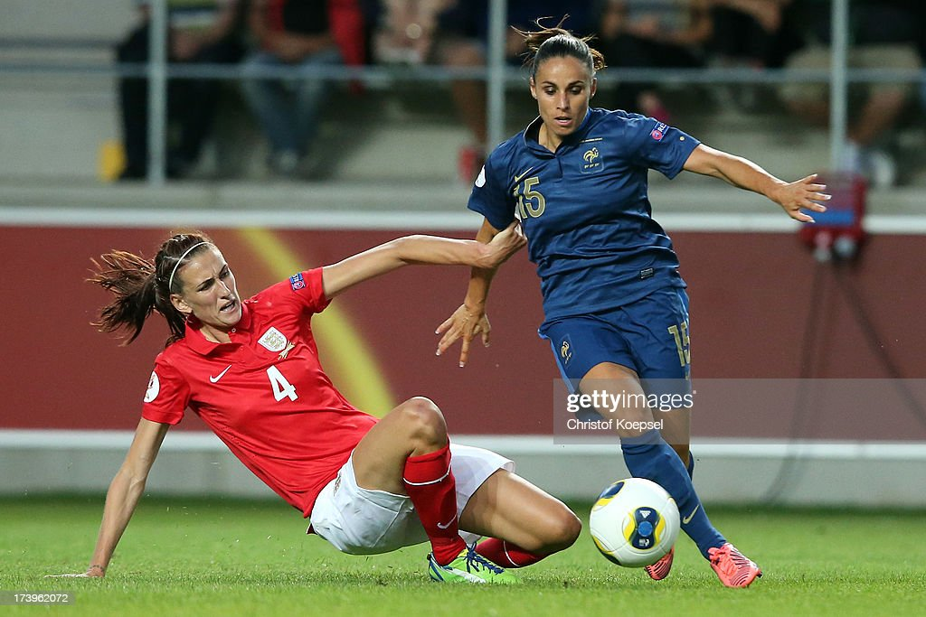 Jill Scott of England challenges <a gi-track='captionPersonalityLinkClicked' href=/galleries/search?phrase=Jessica+Houara&family=editorial&specificpeople=6380286 ng-click='$event.stopPropagation()'>Jessica Houara</a> of France during the UEFA Women's EURO 2013 Group C match between France and England at Linkoping Arena on July 18, 2013 in Linkoping, Sweden.