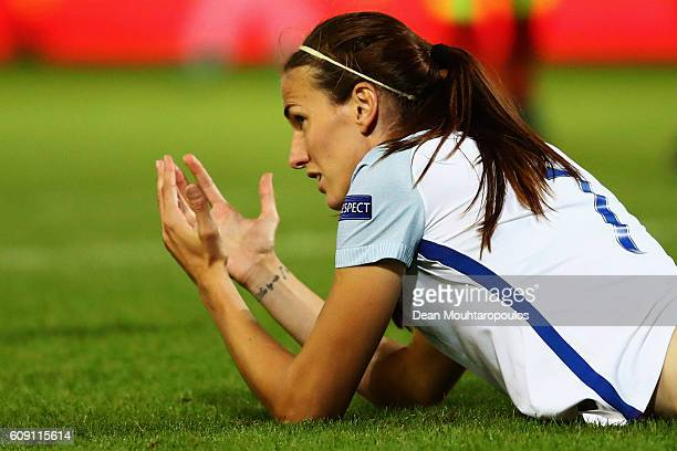 Jill Scott of England reacts after a missed chance on goal during the UEFA Women's Euro 2017 Qualifier between Belgium and England held at Stadium...