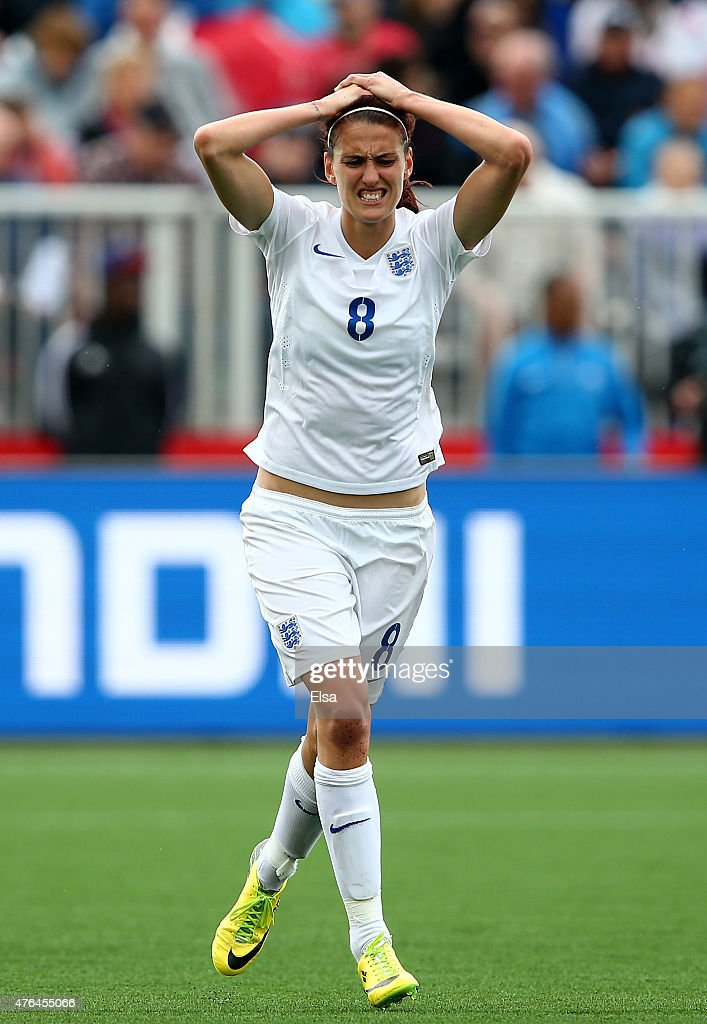 Jill Scott #8 of England reacts in the second half against France during the FIFA Women's World Cup 2015 Group F match at Moncton Stadium on June 9, 2015 in Moncton, Canada.
